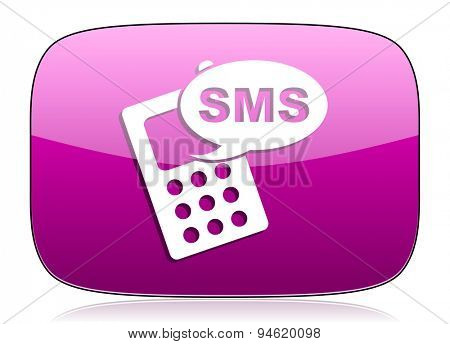sms violet icon phone sign original modern design for web and mobile app on white background with reflection