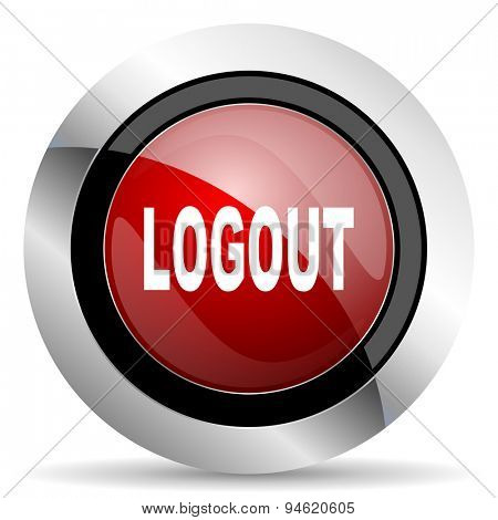 logout red glossy web icon original modern design for web and mobile app on white background