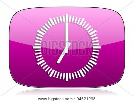 time violet icon clock sign