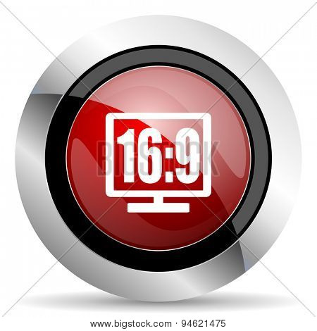 16 9 display red glossy web icon original modern design for web and mobile app on white background