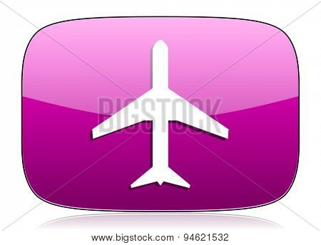 plane violet icon airport sign