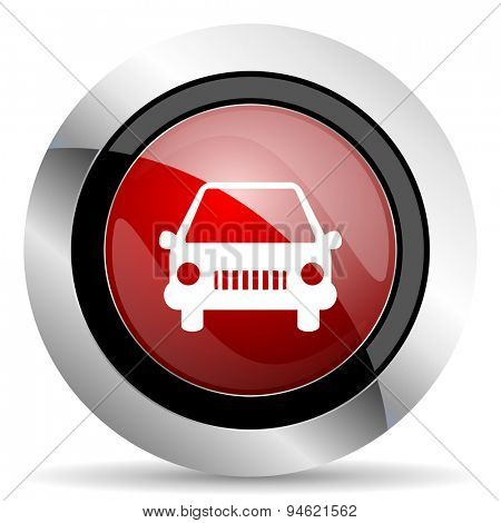 car red glossy web icon original modern design for web and mobile app on white background