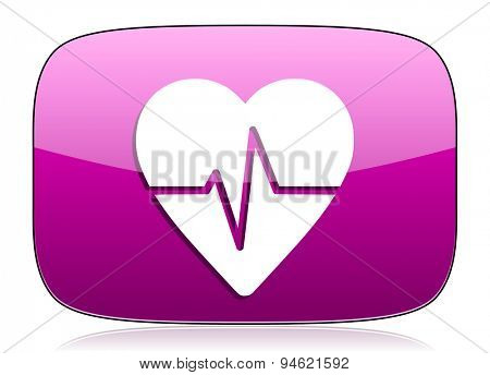 pulse violet icon heart rate sign original modern design for web and mobile app on white background with reflection