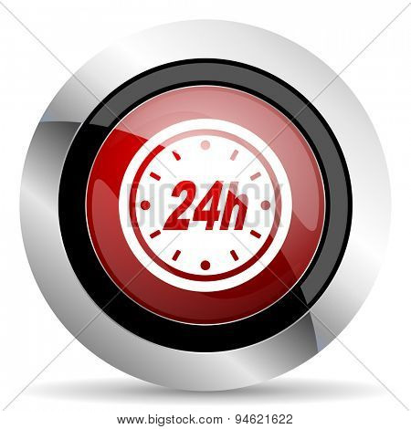 24h red glossy web icon original modern design for web and mobile app on white background
