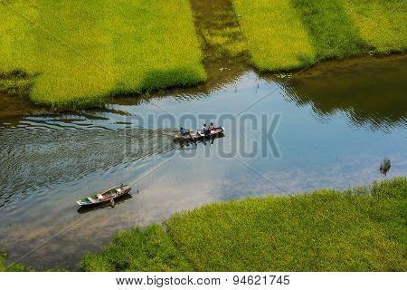 Rice field and river in TamCoc, NinhBinh, Vietnam