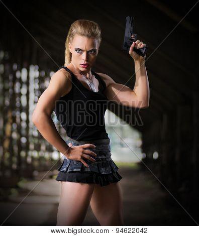 Woman in uniform with gun (dark version)