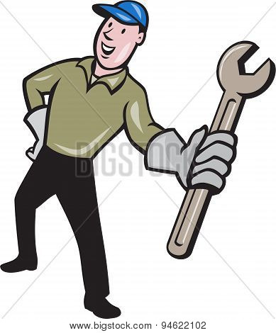Mechanic Presenting Wrench Cartoon