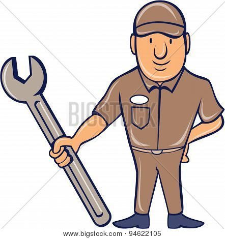 Mechanic Standing Attention Spanner Cartoon