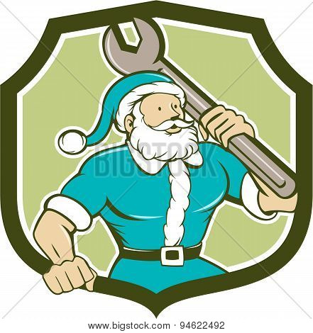 Santa Claus Mechanic Spanner Shield Cartoon