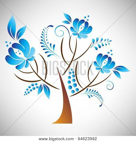 Vector illustration of abstract beautiful tree with blue floral element in Russian gzhel style leaf