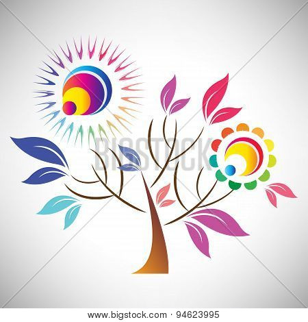 Vector illustration of beautiful abstract coloful tree with sun