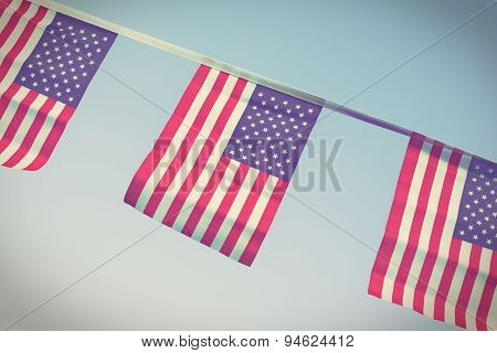 Usa Flags Hanging Proudly For July 4 Independance Day