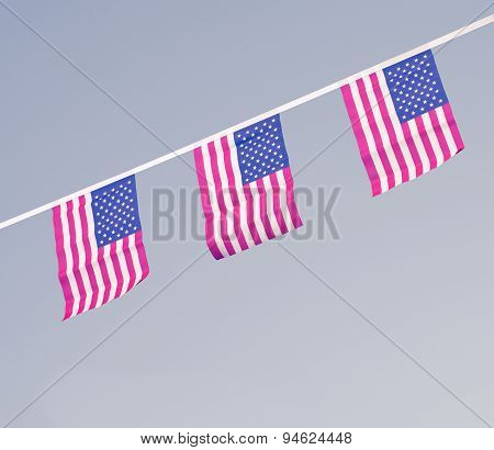 Usa Flags Hanging Proudly For July 4 Independence Day