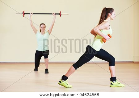 fitness woman with weights at the gym exercising