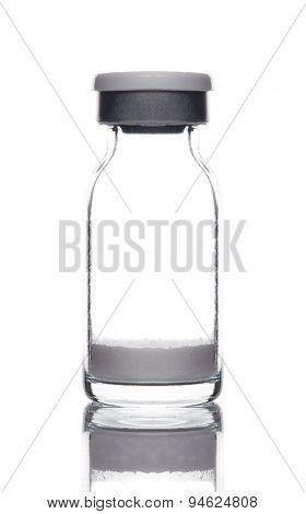 glass medical pharmaceutical sterile ampule bottle with powder medicine for injection isolated on the white background