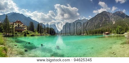 Panorama Of Lake Dobbiaco, Dolomites Mountain