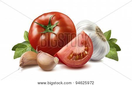 Tomato, Basil Leaves, Garlic, Cloves 4 Isolated On White