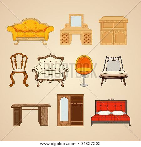 Set of ten illustrations of home furnishings.