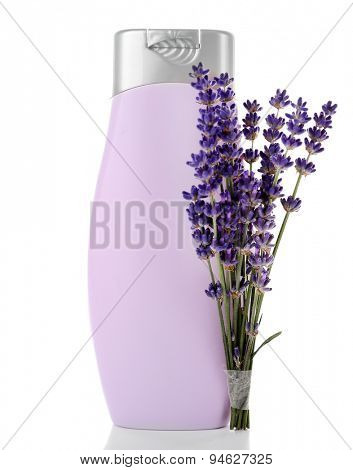 Plastic bottle of shampoo with fresh lavender isolated on white