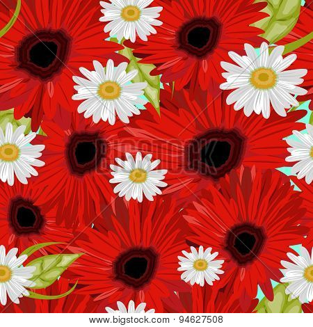 Flower Seamless Pattern With Daisies And Gerbers. Vector Illustration.