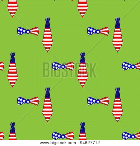 Seamless pattern with ties and bow-ties, american flag