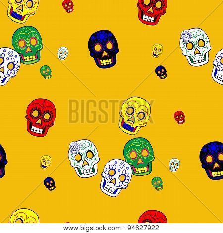 Colorful Mexican Day of the Dead Seamless Pattern Dia de Los Muertos Festival