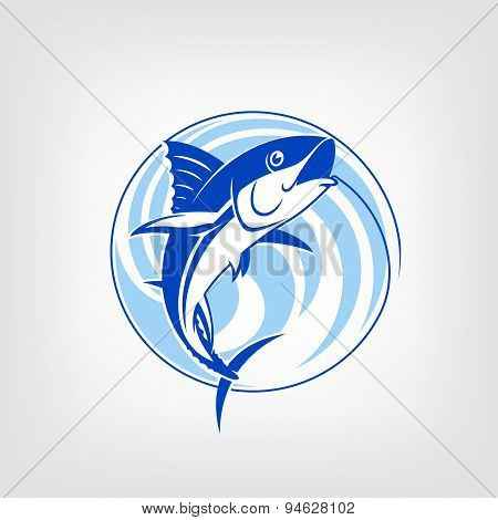 Fishing logo template - Tuna vector sign.