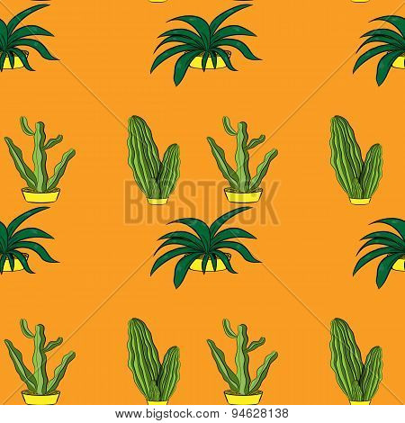 Seamless retro cactus plants for the home illustration background pattern