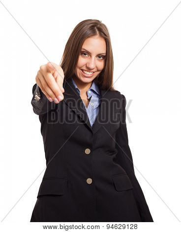 Businesswoman pointing her finger to you