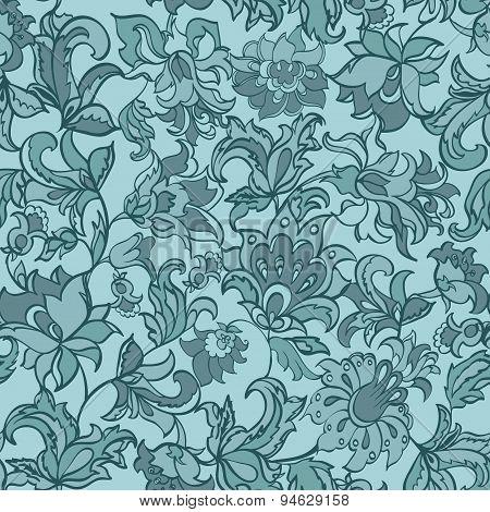 ethnic flowers seamless retro pattern. vector background