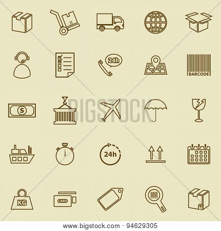 Logistics Line Icons On Brown Background