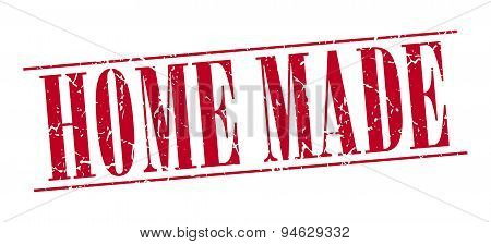 Home Made Red Grunge Vintage Stamp Isolated On White Background