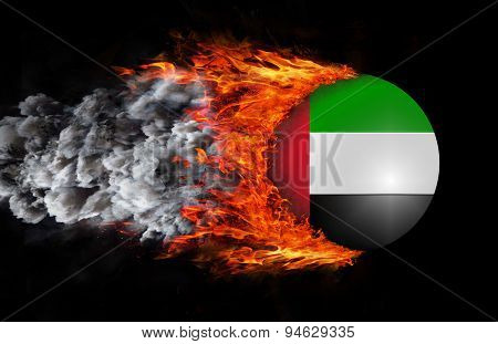 Flag With A Trail Of Fire And Smoke - United Arab Emirates