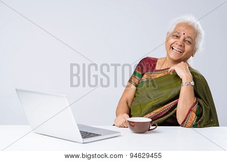 Indian Woman With Laptop