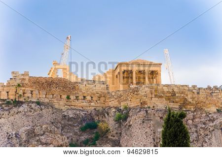 Acropolis Hill In Athens, Greece.