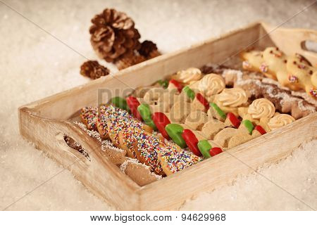 Christmas Cookies On Wooden Plate
