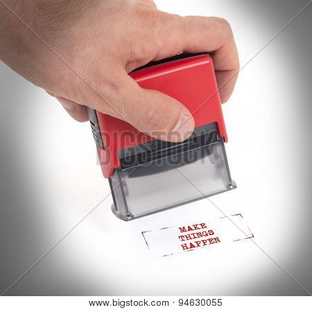 Plastic Stamp In Hand, Isolated