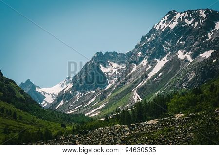Beautiful Valley And Peaks In Caucasus Mountains, The Main Caucasian Ridge. North Caucasus