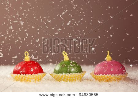 Rounded Small Cakes With Snow