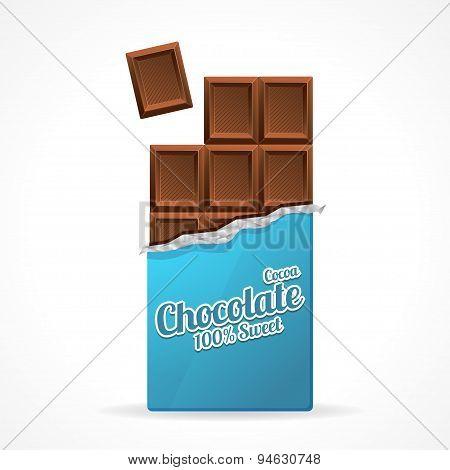 Vector Milk Chocolate Bar Open