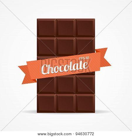 Vector Dark Chocolate Bar Open