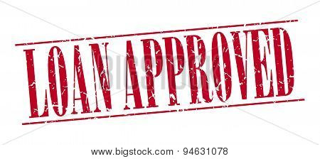 Loan Approved Red Grunge Vintage Stamp Isolated On White Background
