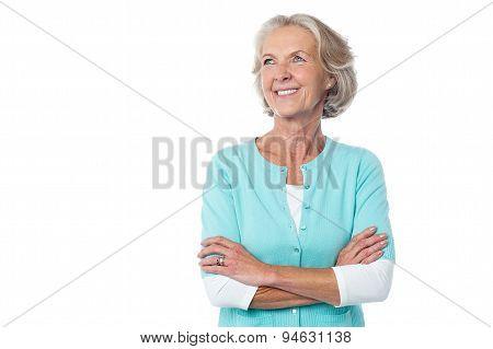 Confident Mature Woman Over White