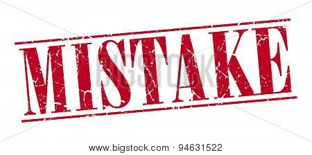 Mistake Red Grunge Vintage Stamp Isolated On White Background