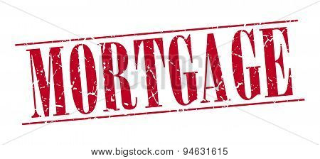 Mortgage Red Grunge Vintage Stamp Isolated On White Background