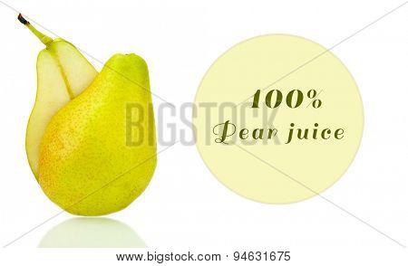 Fresh pear and space for your text isolated on white