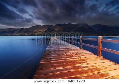 Wooden pier, Wakatipu Lake at dawn, Glenorchy, New Zealand
