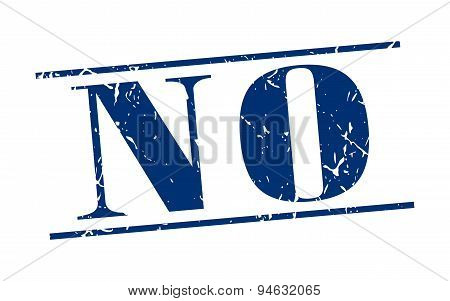 No Blue Grunge Vintage Stamp Isolated On White Background