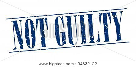 Not Guilty Blue Grunge Vintage Stamp Isolated On White Background