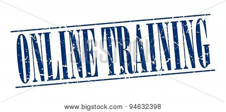 Online Training Blue Grunge Vintage Stamp Isolated On White Background